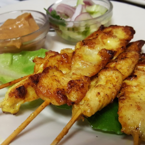 The most well-know Thai appetizer is chicken satay.