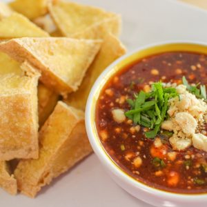 Simple Thai appetizer, fried tofu with Thai sauce.