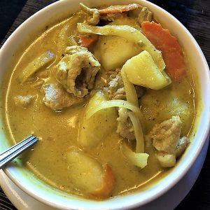 The least spicy Thai curry that we have.